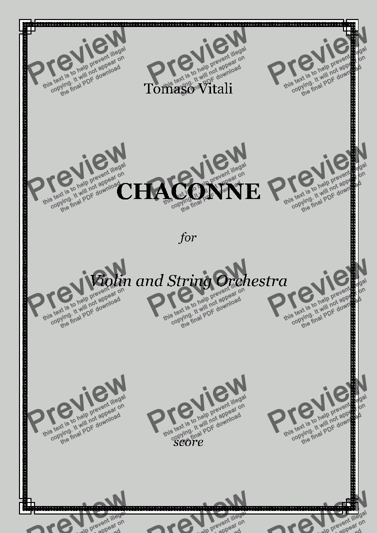 page one of Vitali - CHACONNE for Violin and String Orchestra