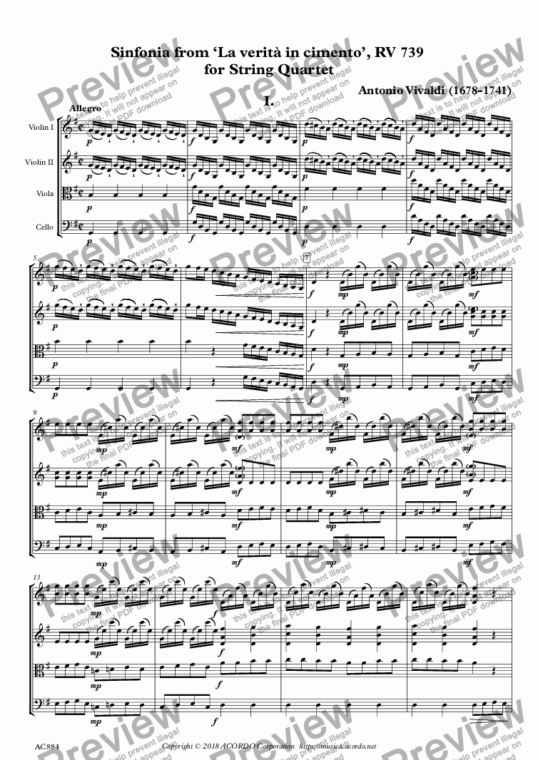 page one of Sinfonia from 'La verità in cimento', RV 739 for String Quartet