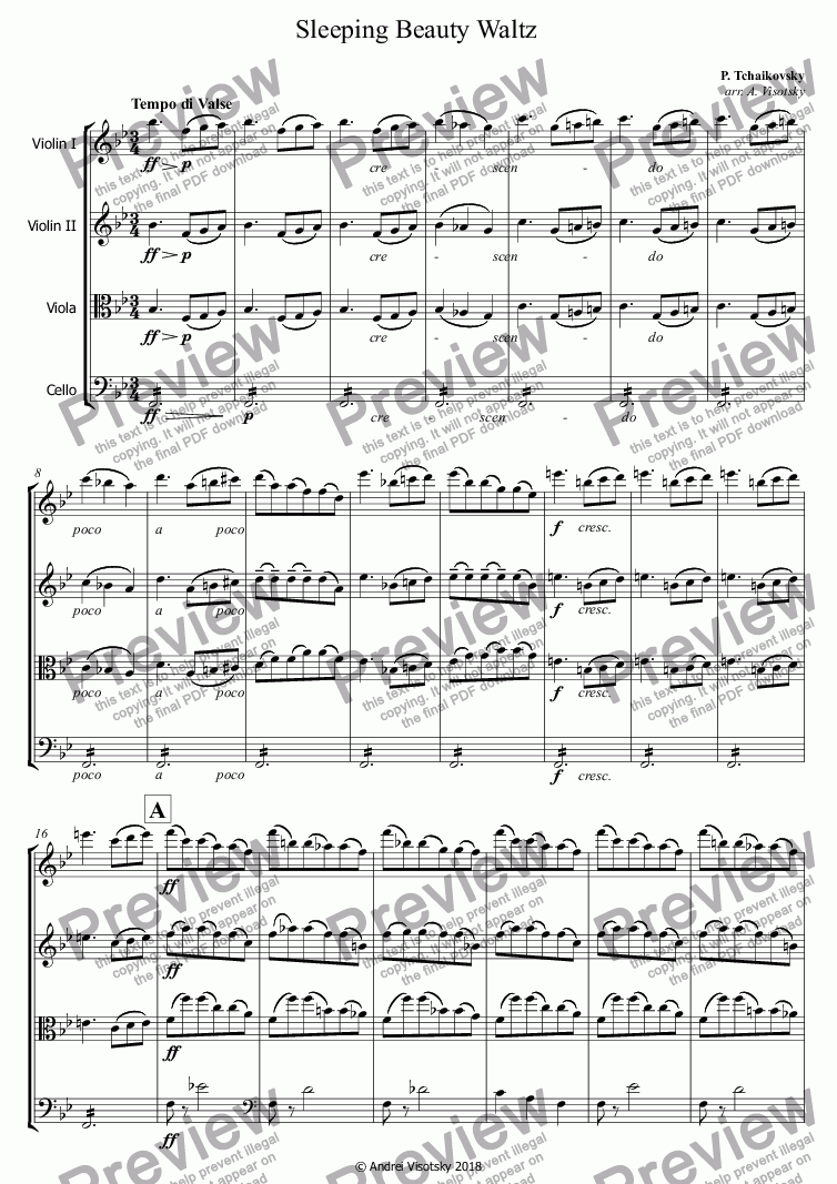 page one of Sleeping Beauty Waltz
