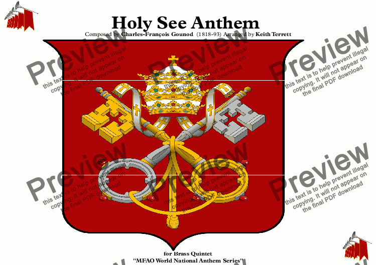 "page one of Holy See Anthem (Inno e Marcia Pontificale ""Pontifical Anthem""  ""Hymnus Pontificius"")  for Brass Quintet"