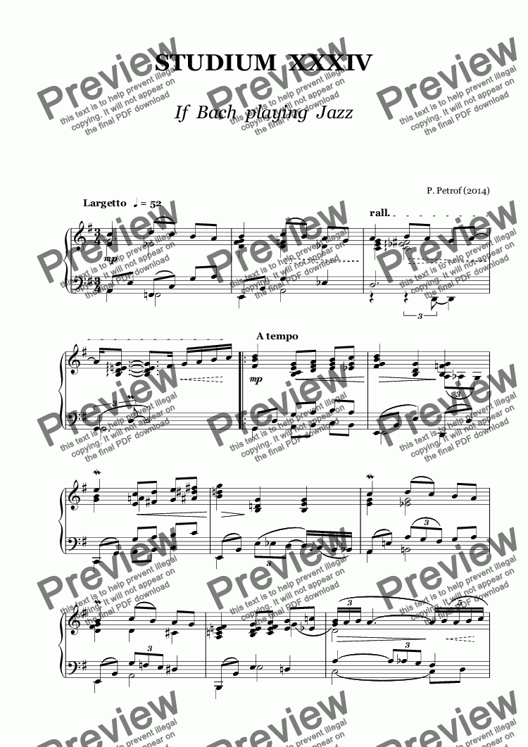 page one of STUDIUM  XXXIV - If  Bach  playing  Jazz - piano solo