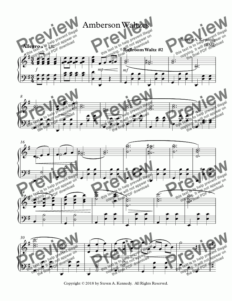 page one of Amberson Waltzes