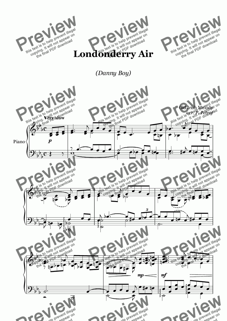 page one of Londonderry Air  (Danny Boy) - piano solo