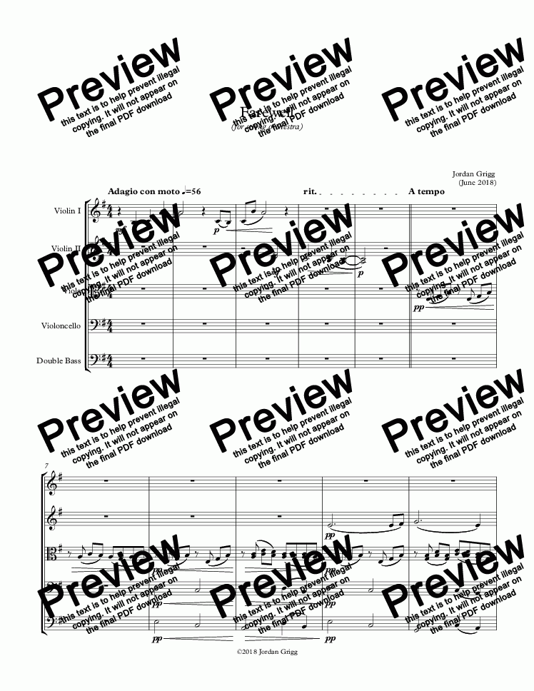 page one of Farewell (for string orchestra) - Score and parts