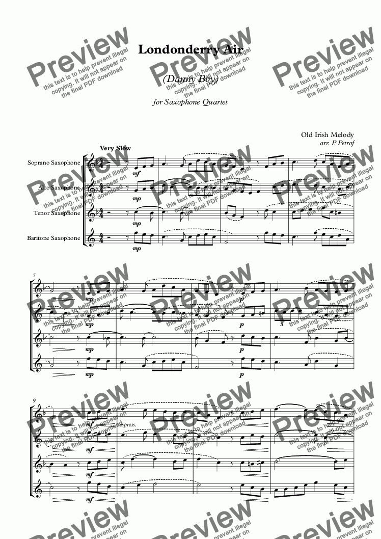 page one of Londonderry Air (Danny Boy) - Saxophone Quartet