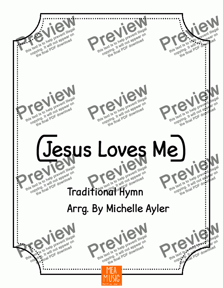 page one of Jesus Loves Me (Piano Letters)