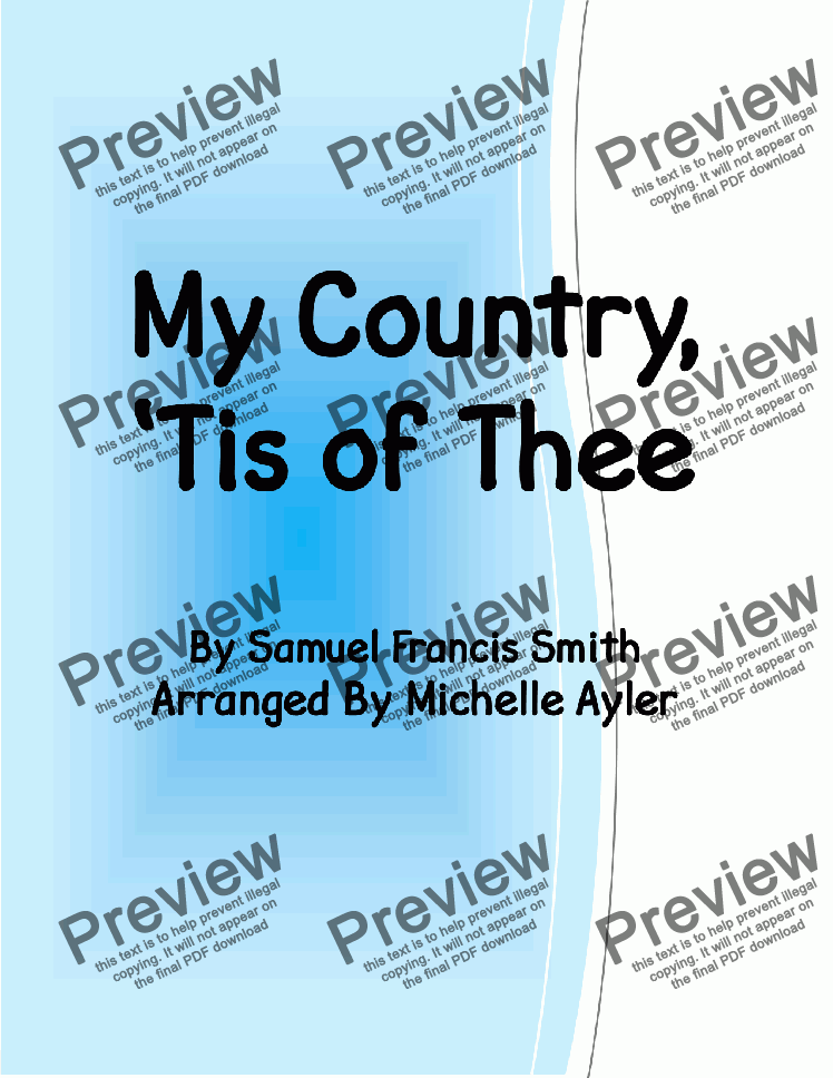page one of My Country Tis of Thee