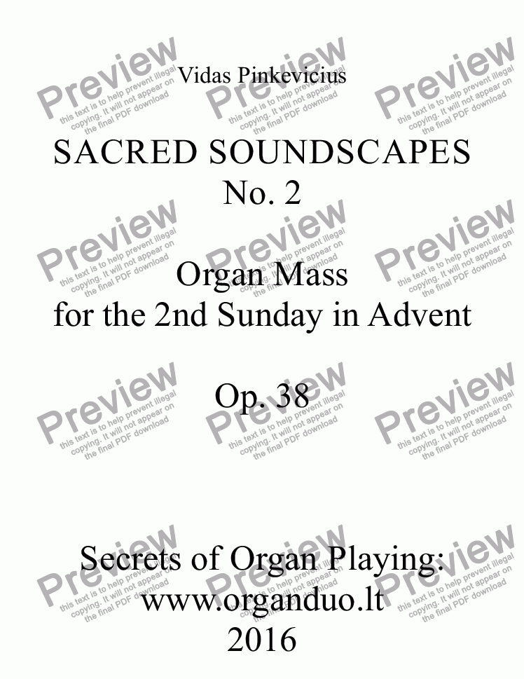page one of Organ Mass for the 2nd Sunday in Advent - Full Score