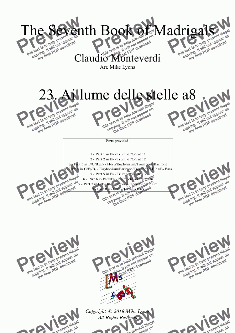 page one of Brass Octet - Monteverdi Madrigals Book 7 - 23. Ai lume delle stelle a8