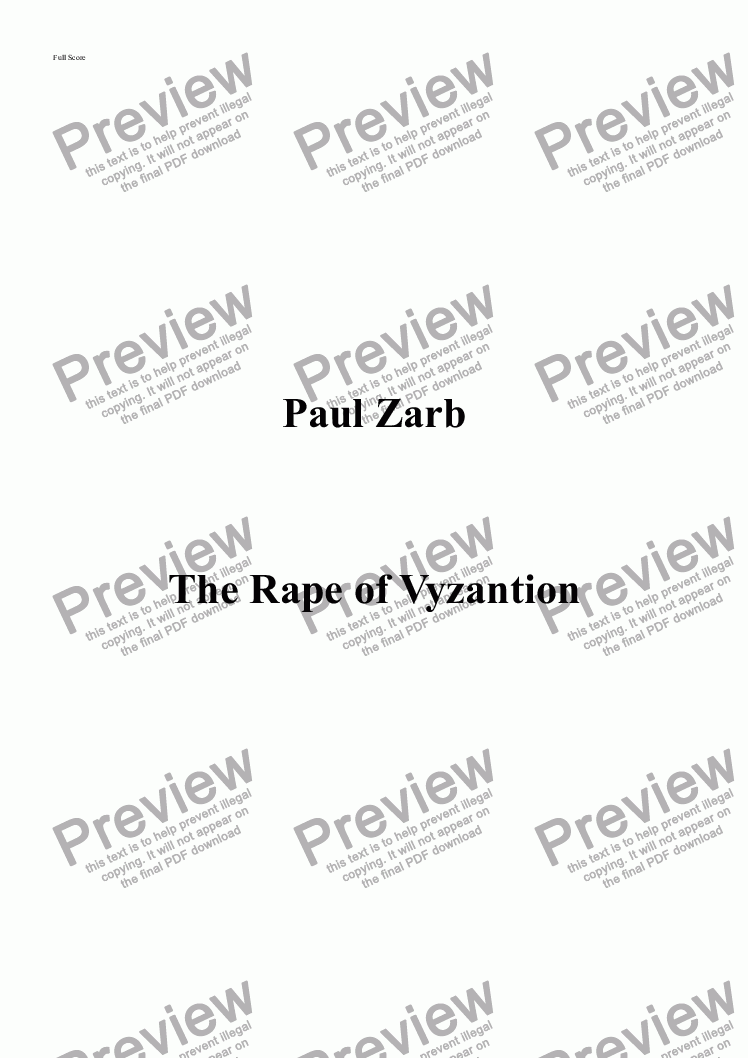 page one of The Rape of Vyzantion