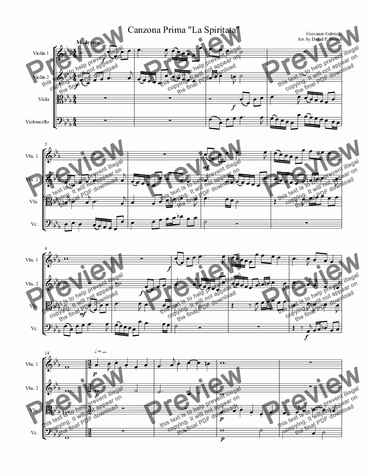 "page one of Canzona Prima ""La Spiritata"" for String Quartet"