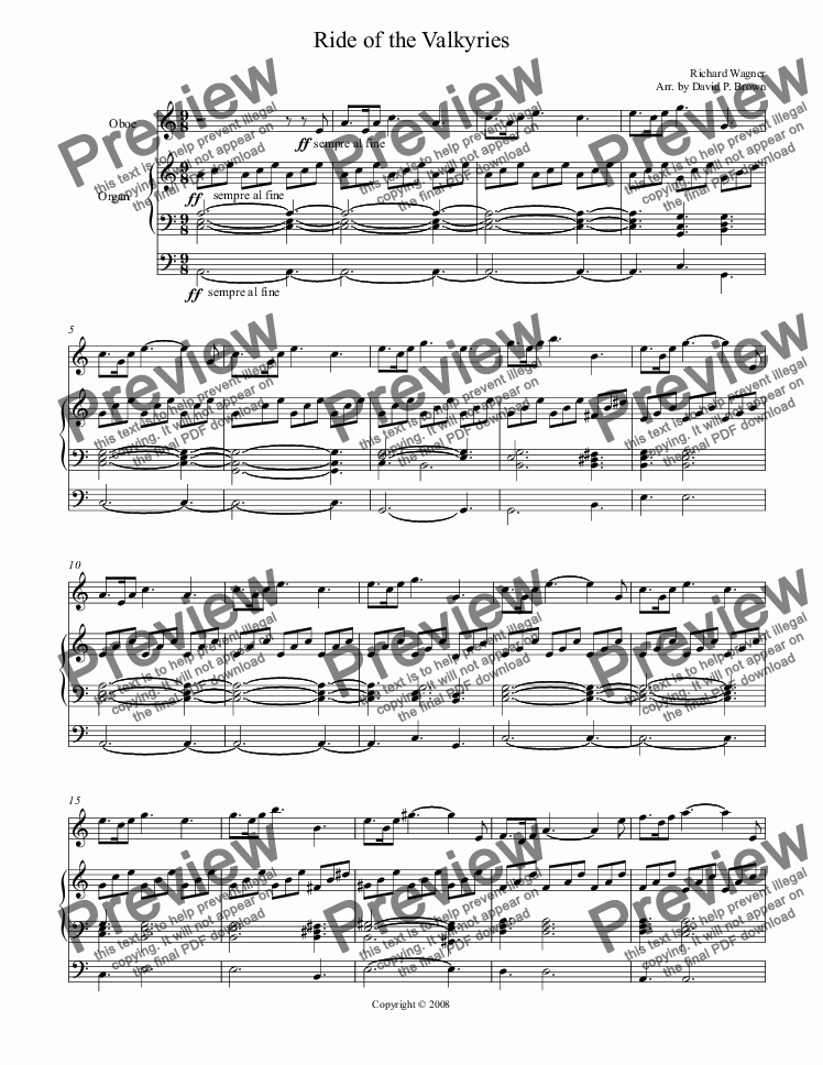 page one of Ride of the Valkyries for Oboe Solo