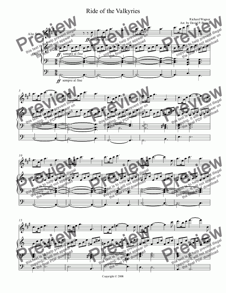 page one of Ride of the Valkyries for Alto Saxophone Solo