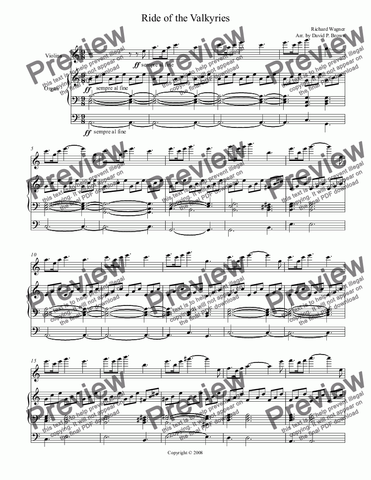 page one of Ride of the Valkyries for Violin Solo