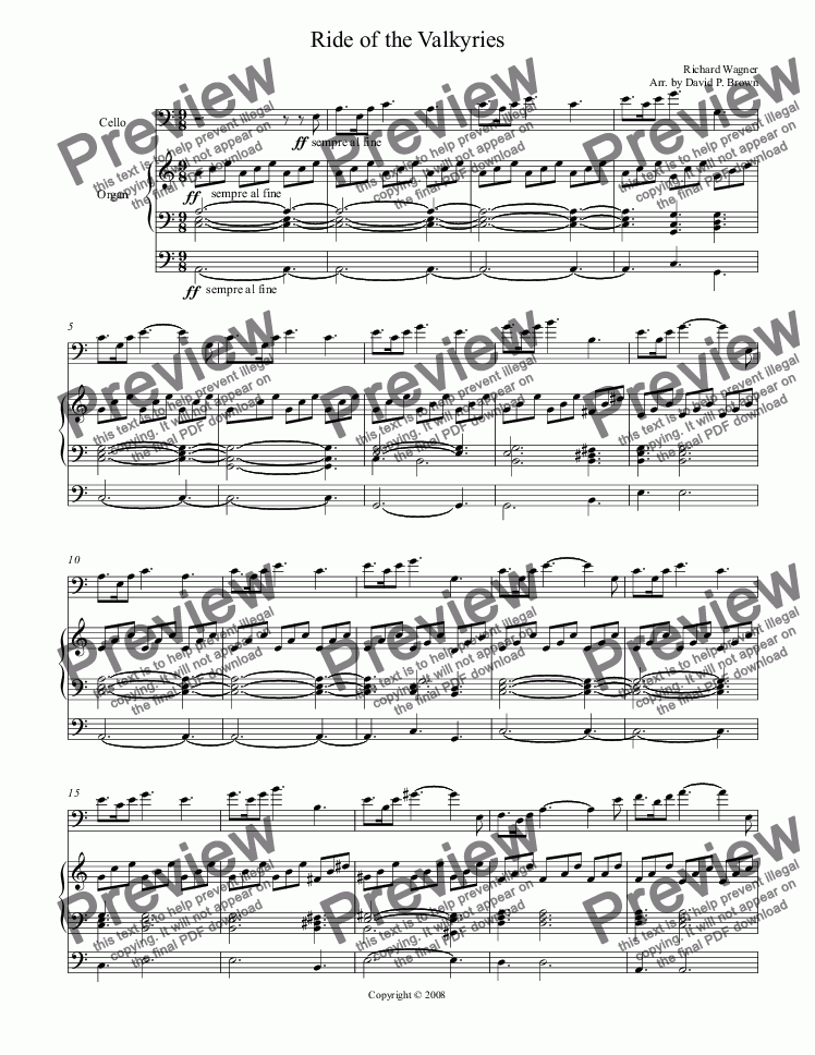 page one of Ride of the Valkyries for Cello Solo