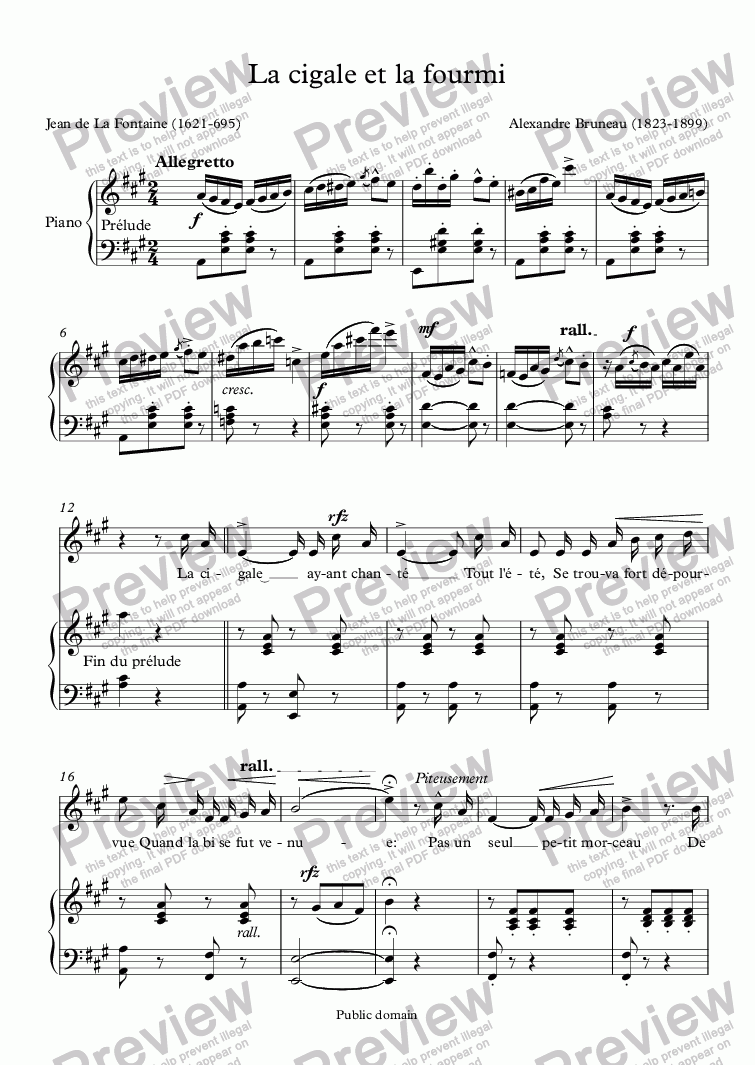 page one of La cigale et la fourmi (Alexandre Bruneau / La Fontaine)