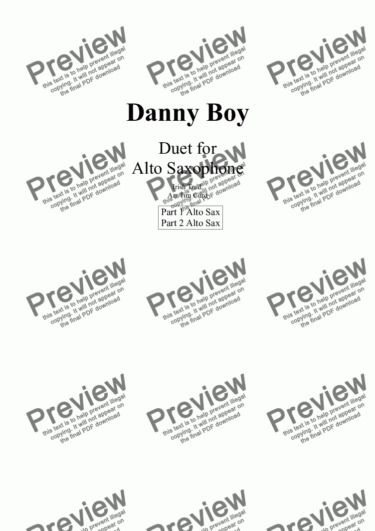 page one of Danny Boy for Saxophone Duet