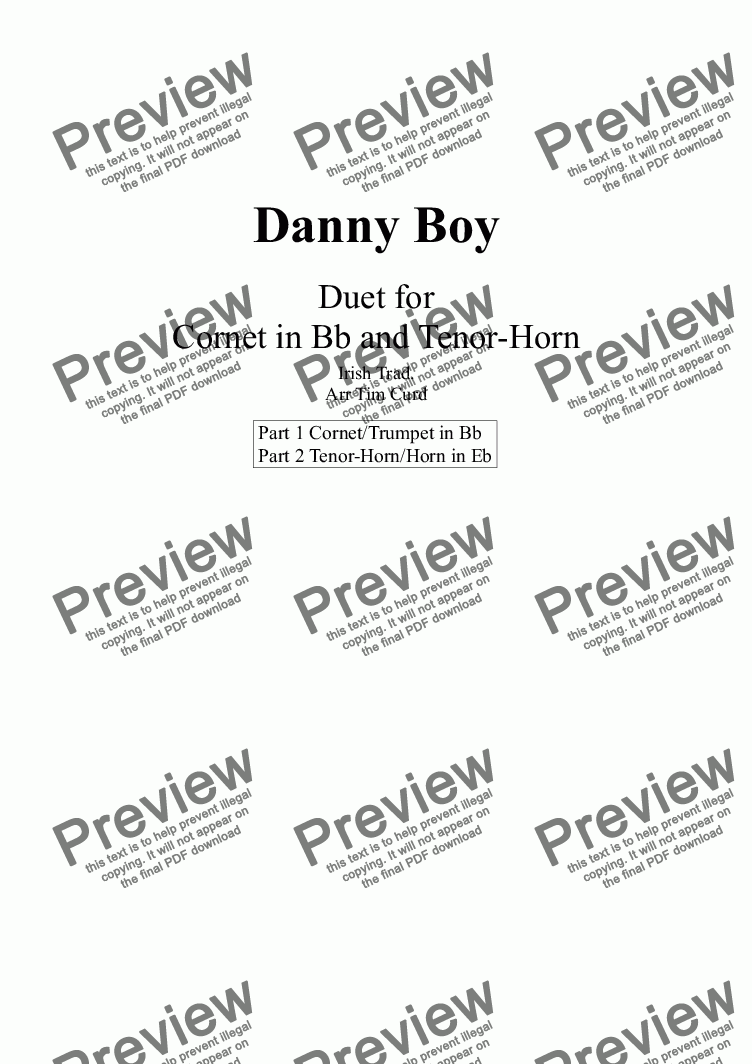 page one of Danny Boy. Duet for Cornet and Tenor Horn
