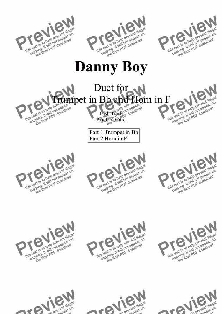 page one of Danny Boy. Duet for Trumpet and French Horn.