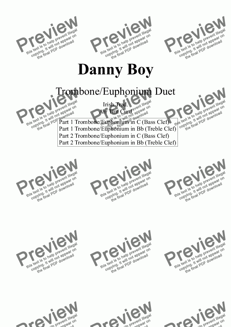 page one of Danny Boy for Trombone Duet
