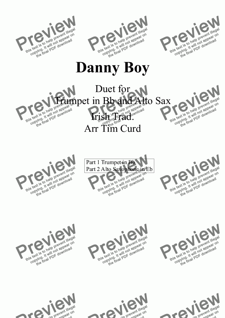 page one of Danny Boy. Duet for Trumpet and Alto Saxophone