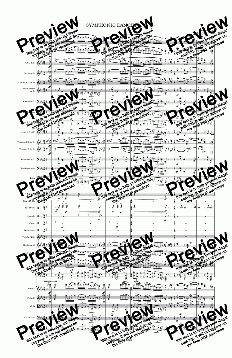 page one of Symphonic Dance No 1 - Score and parts