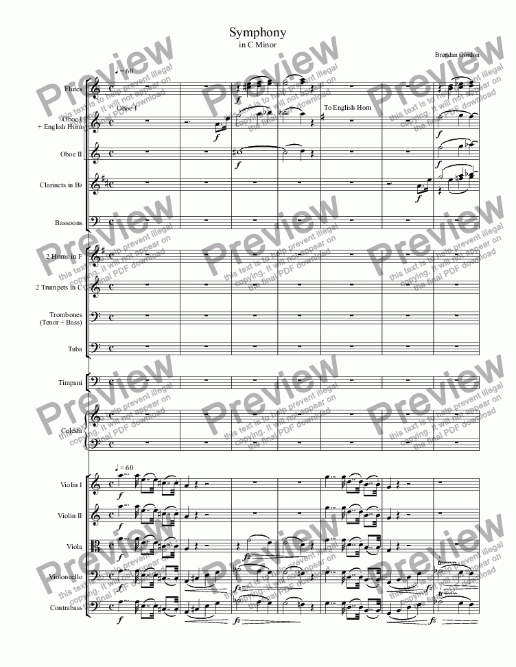 page one of Symphony in C Minor (1st mvt)