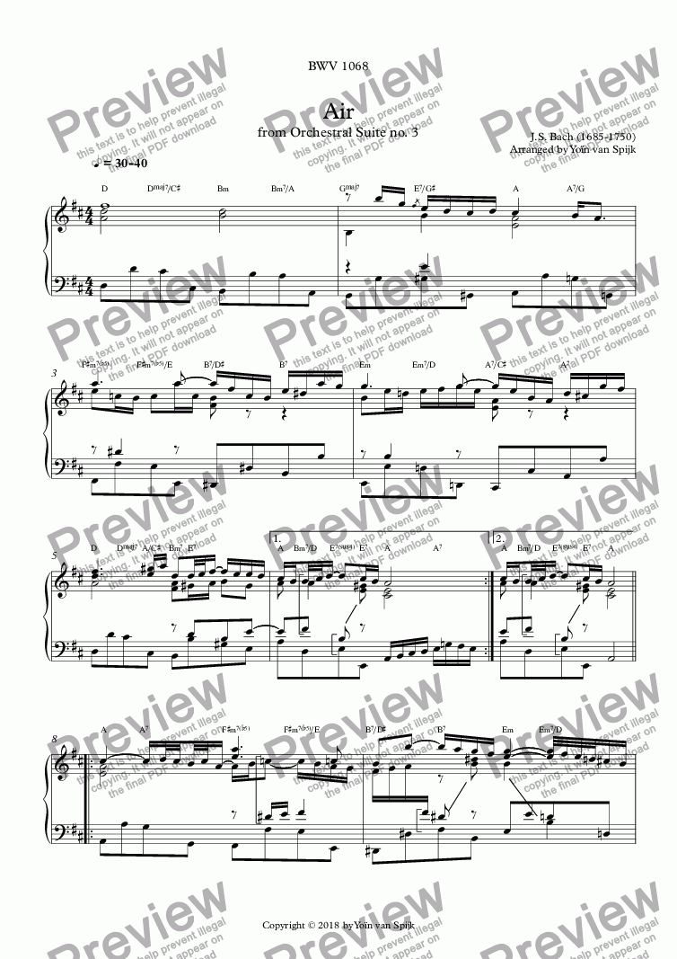 page one of Air from Orchestral Suite no. 3 (BWV 1068) - Piano solo transcription