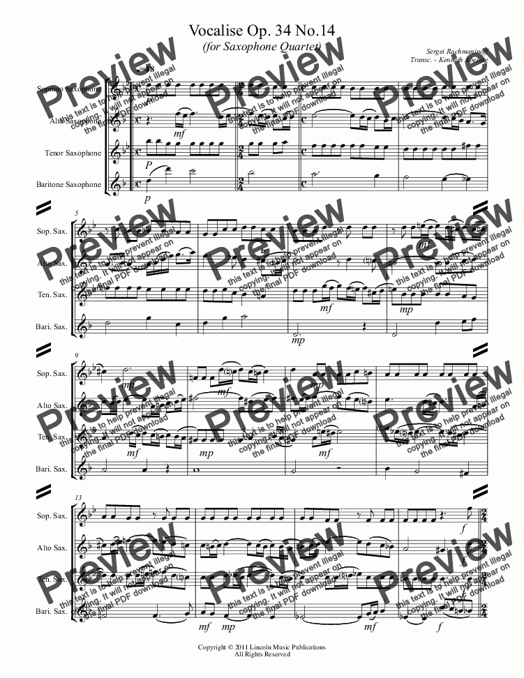 page one of Rachmaninoff - Vocalise Op. 34 No.14 (for Saxophone Quartet)