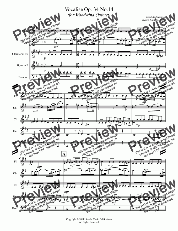 page one of Rachmaninoff - Vocalise Op. 34 No.14 (for Woodwind Quintet)