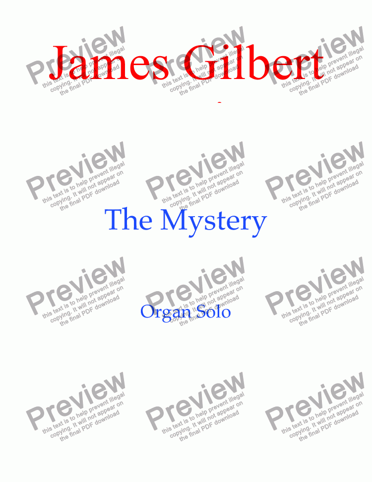 page one of The Mystery