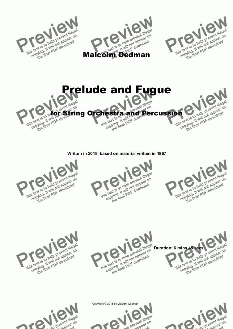 page one of Prelude and Fugue