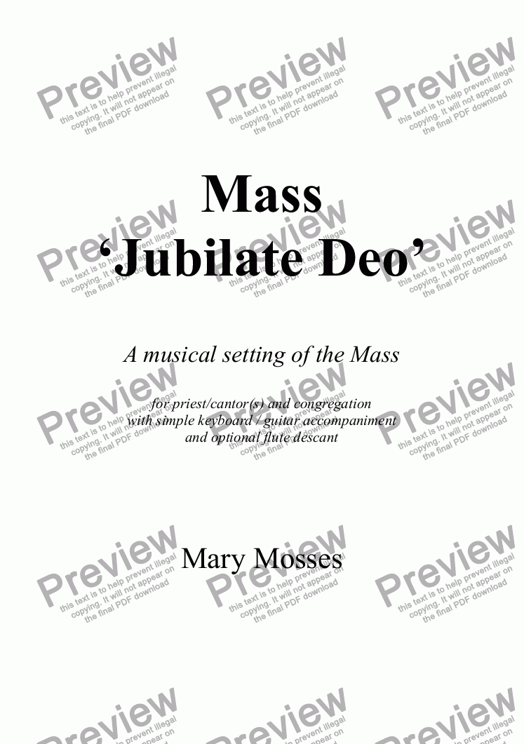 page one of Mass 'Jubilate Deo'