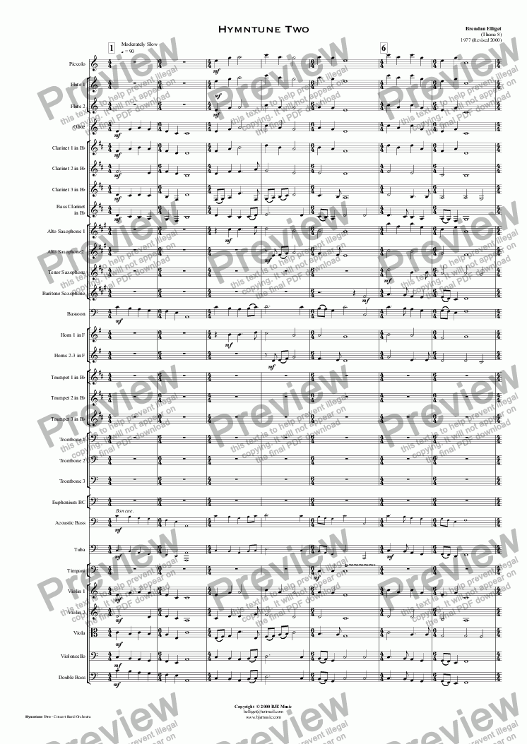 page one of Hymntune Two - Orchestra/Concert Band