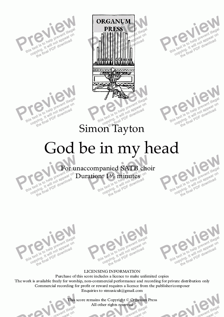 page one of God be in my head