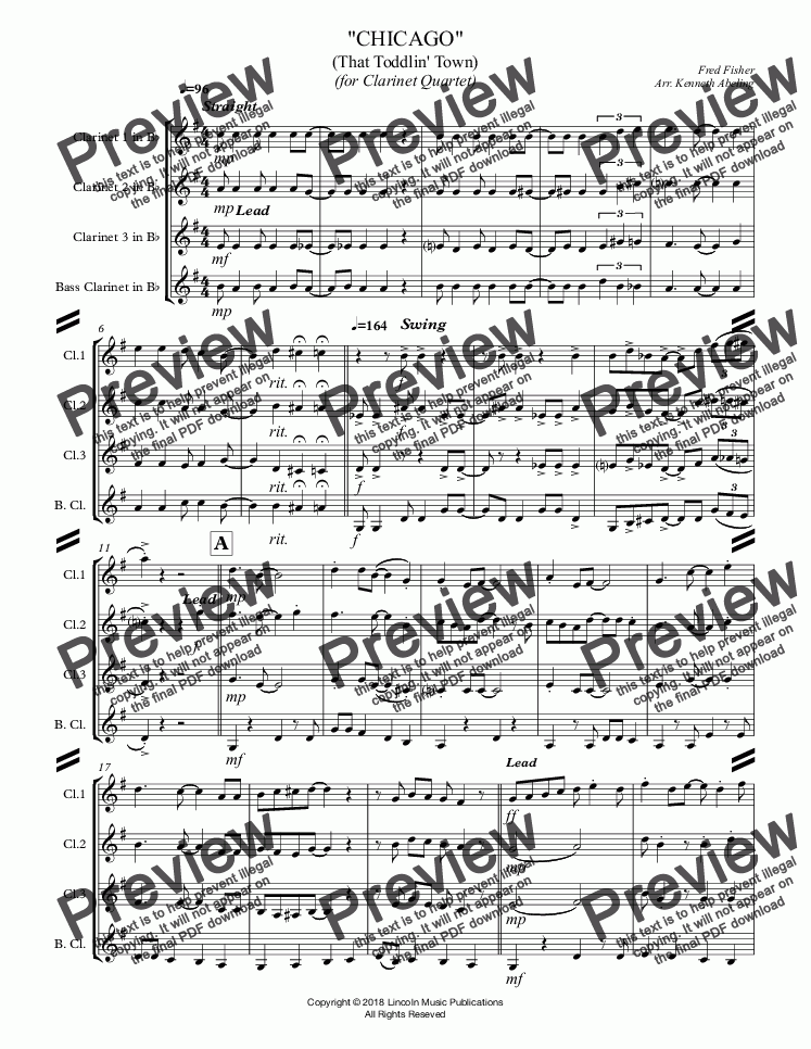 page one of CHICAGO (That Toddlin' Town) (for Clarinet Quartet)