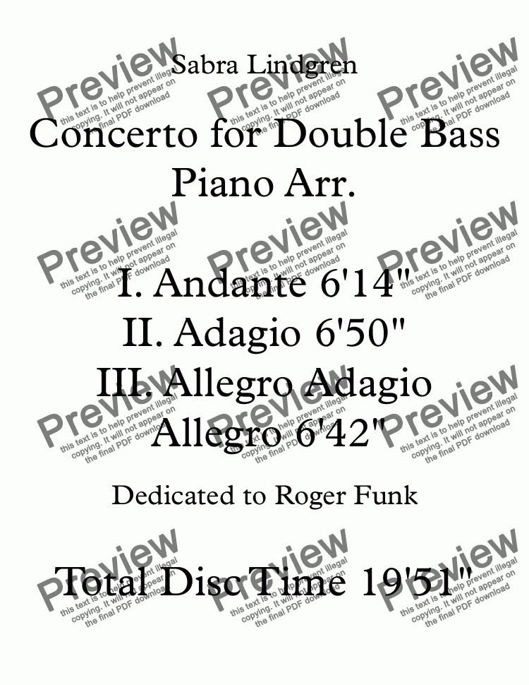 page one of Concerto for Double Bass I. Andante Piano Arr.
