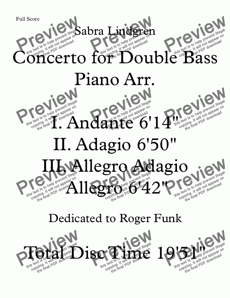 page one of Concerto for Double Bass II. Adagio Piano Arr.