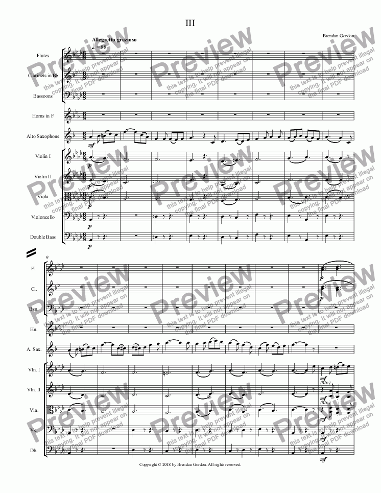 page one of Concerto for Alto Saxophone in A-flat Major (3rd mvt)