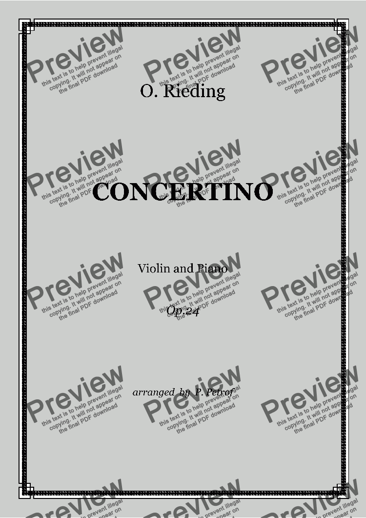 page one of O. Rieding - CONCERTINO for Violin and Piano Op.24