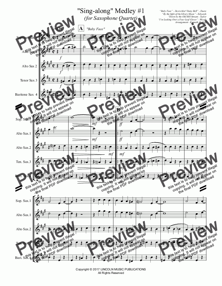 page one of Sing-along Medley #1 (for Saxophone Quartet SATB or AATB)