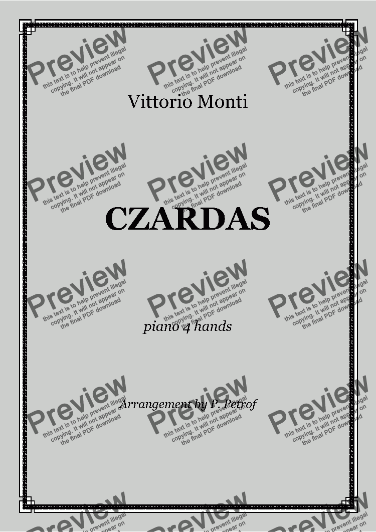 page one of V. Monti - CZARDAS - 1 piano 4 hands