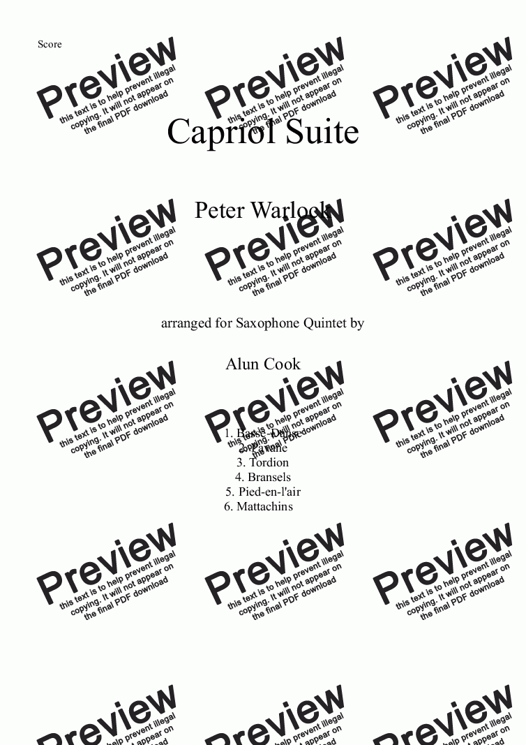 page one of Capriol Suite (Saxophone Quintet)