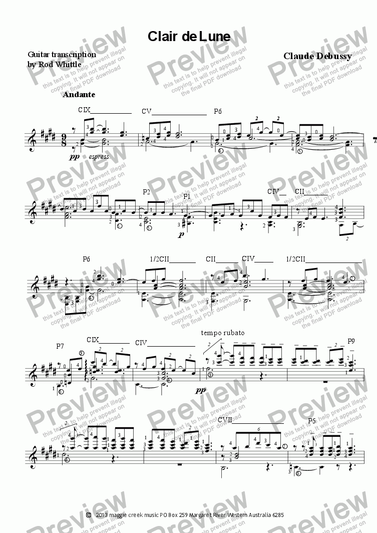 page one of Clair de Lune  (for solo classical guitar)  3 pp