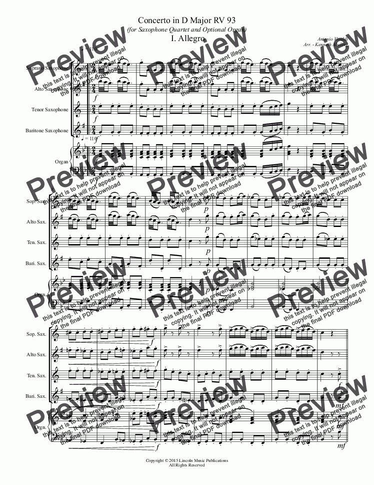 page one of Vivaldi - Concerto in D Major RV 93 (for Saxophone Quartet & Optional Organ)