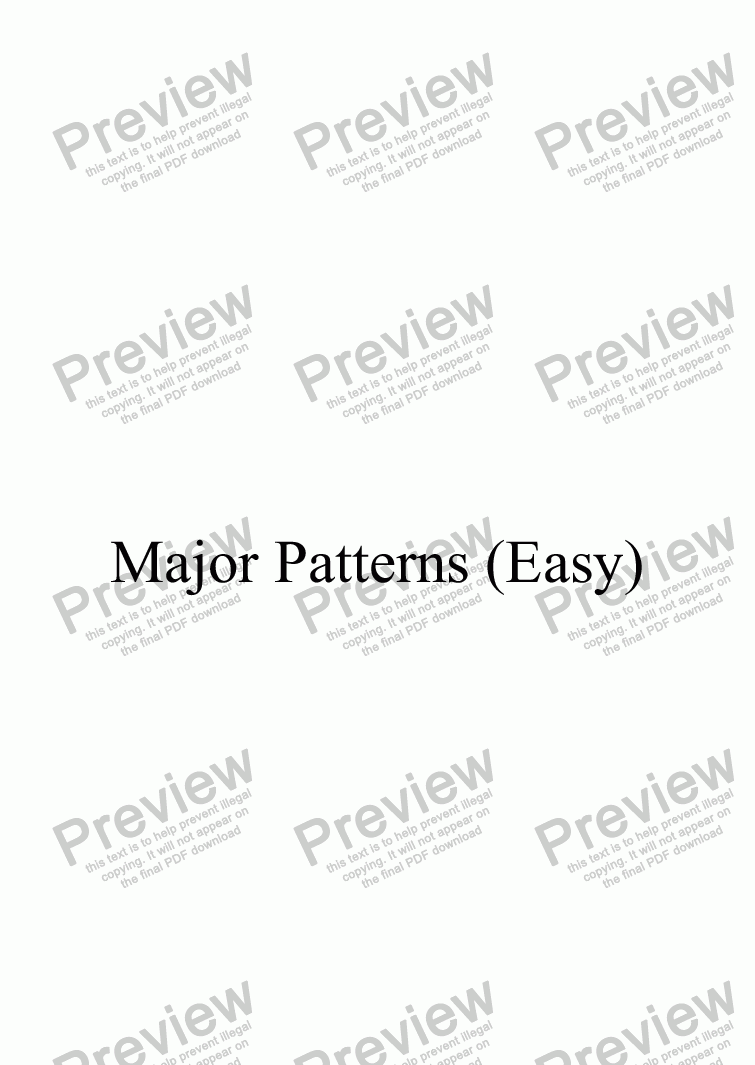 page one of Major Patterns (Easy)