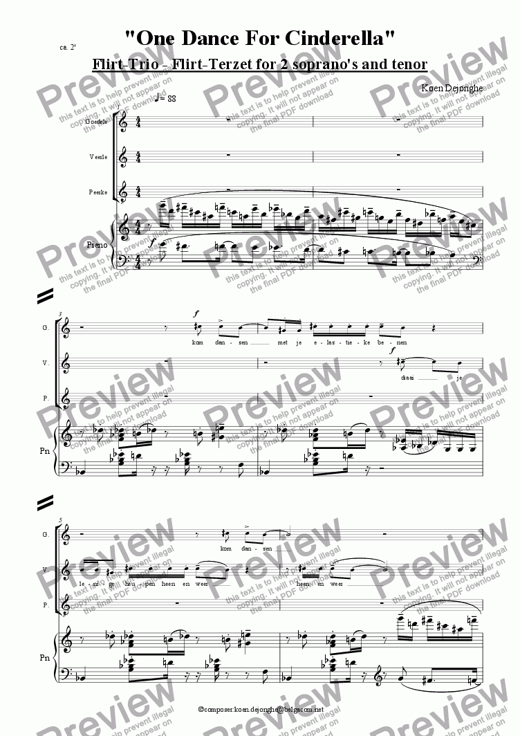 "page one of ""Flirt-Trio"" for 3 singers and barrel-organ or piano"