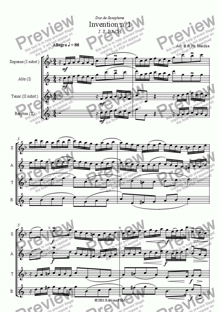 page one of Bach - 2 voices Inventions n°1, 2, 3 (Sax Duo)