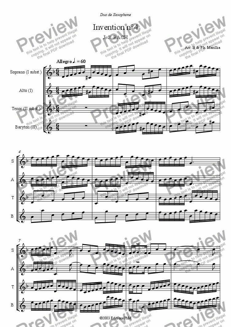 page one of Bach - 2 voices Inventions n°4, 5, 6 (Sax Duo)