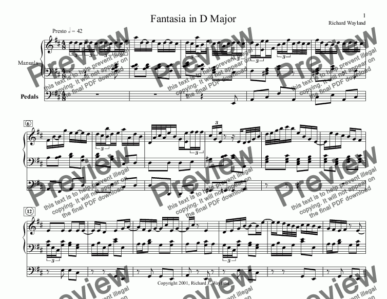 page one of Fantasia in D Major